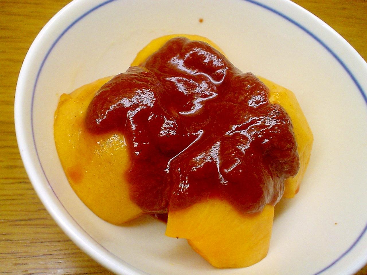 柿のカカオトマトソース掛け