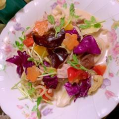 きくらげと野菜のカラフル豆乳花椒ちゃんぽん