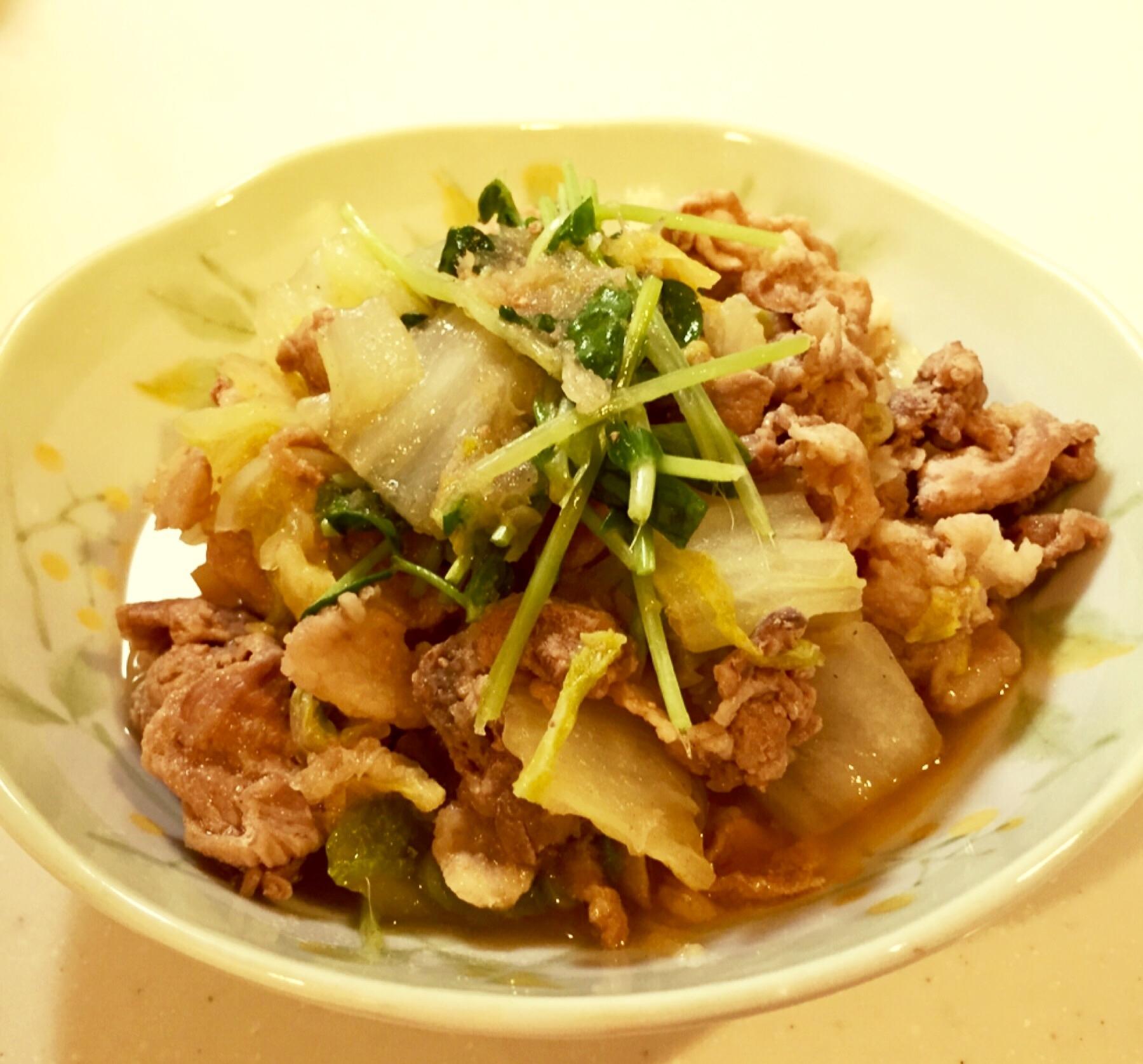 大根おろしで柔らか!豚こま切れと白菜のポン酢煮 レシピ・作り方