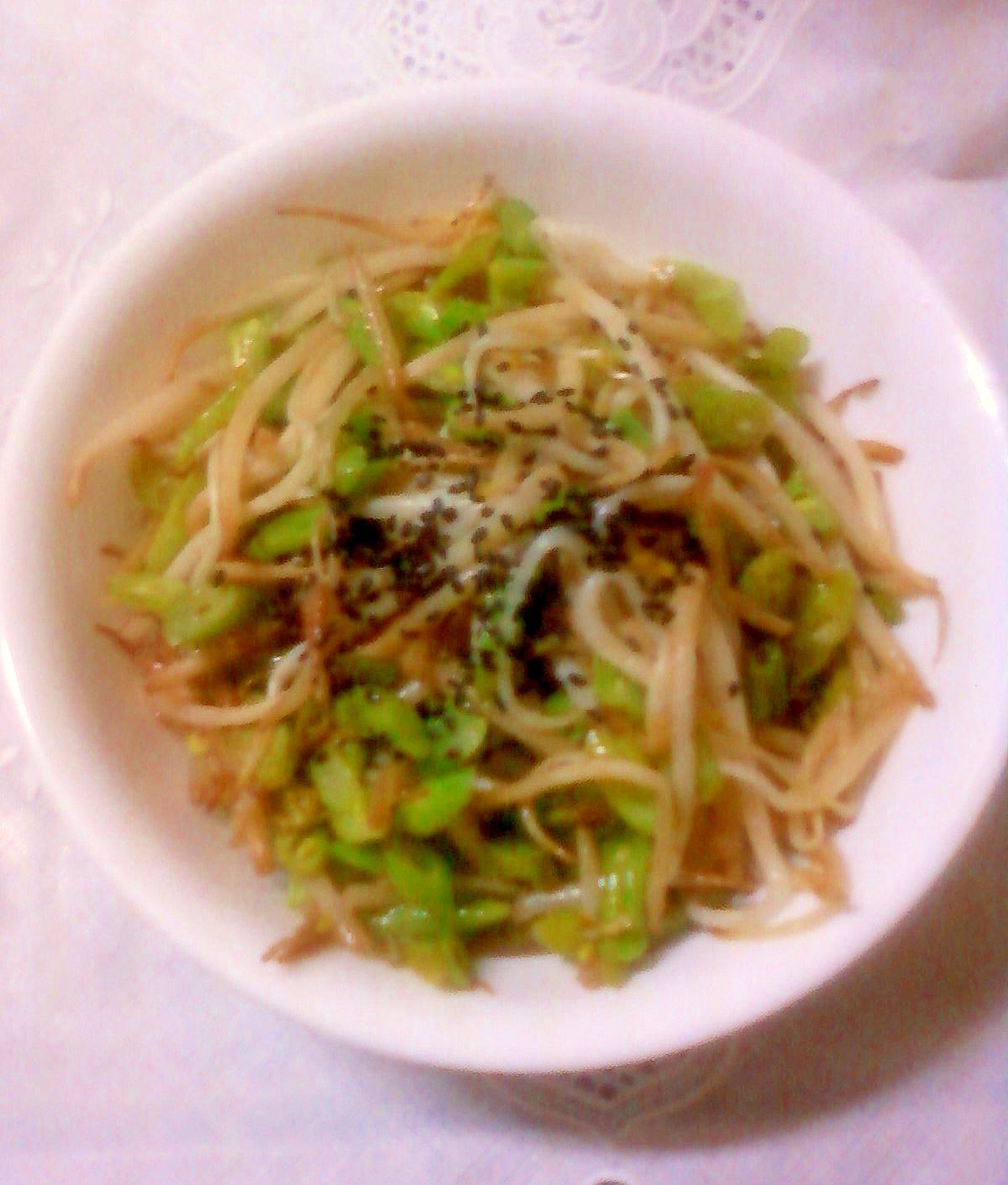☆*:・★もやしと鞘いんげんの麺つゆ炒め☆*:・★