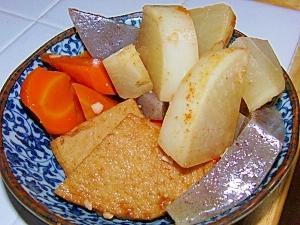 あごだしとキムチの漬け汁で根菜の煮物