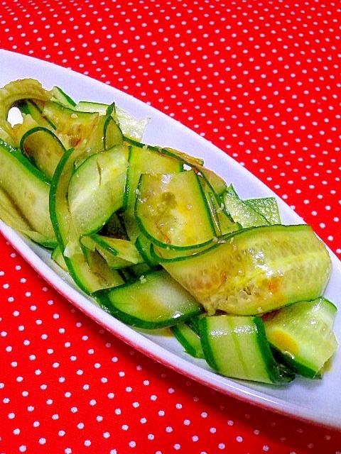 キュウリのリボン中華サラダ