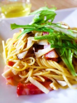 水菜とエリンギのペペロンチーノ