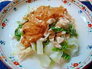 レンジで鶏むね肉と白菜の蒸し物