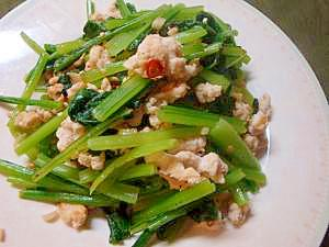 小松菜と鶏むね肉のイタリアン風炒め