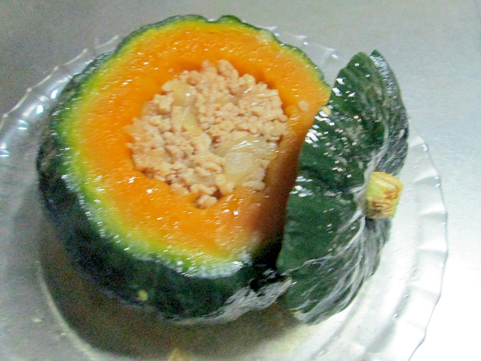 簡単☆坊ちゃんかぼちゃの挽肉詰めレンジ蒸し