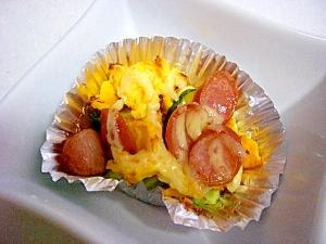 お弁当に!きゅうりとウィンナーと卵のマヨ焼き