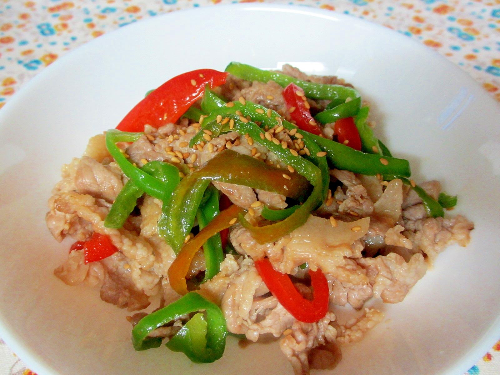 豚こま、パプリカ、ピーマンのにんにく醤油炒め レシピ・作り方 by mococo05|楽天レシピ