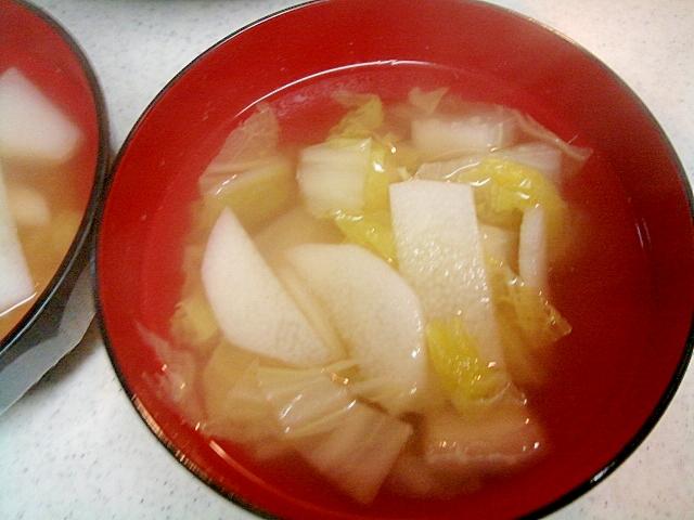 長いもと白菜のコンソメスープ