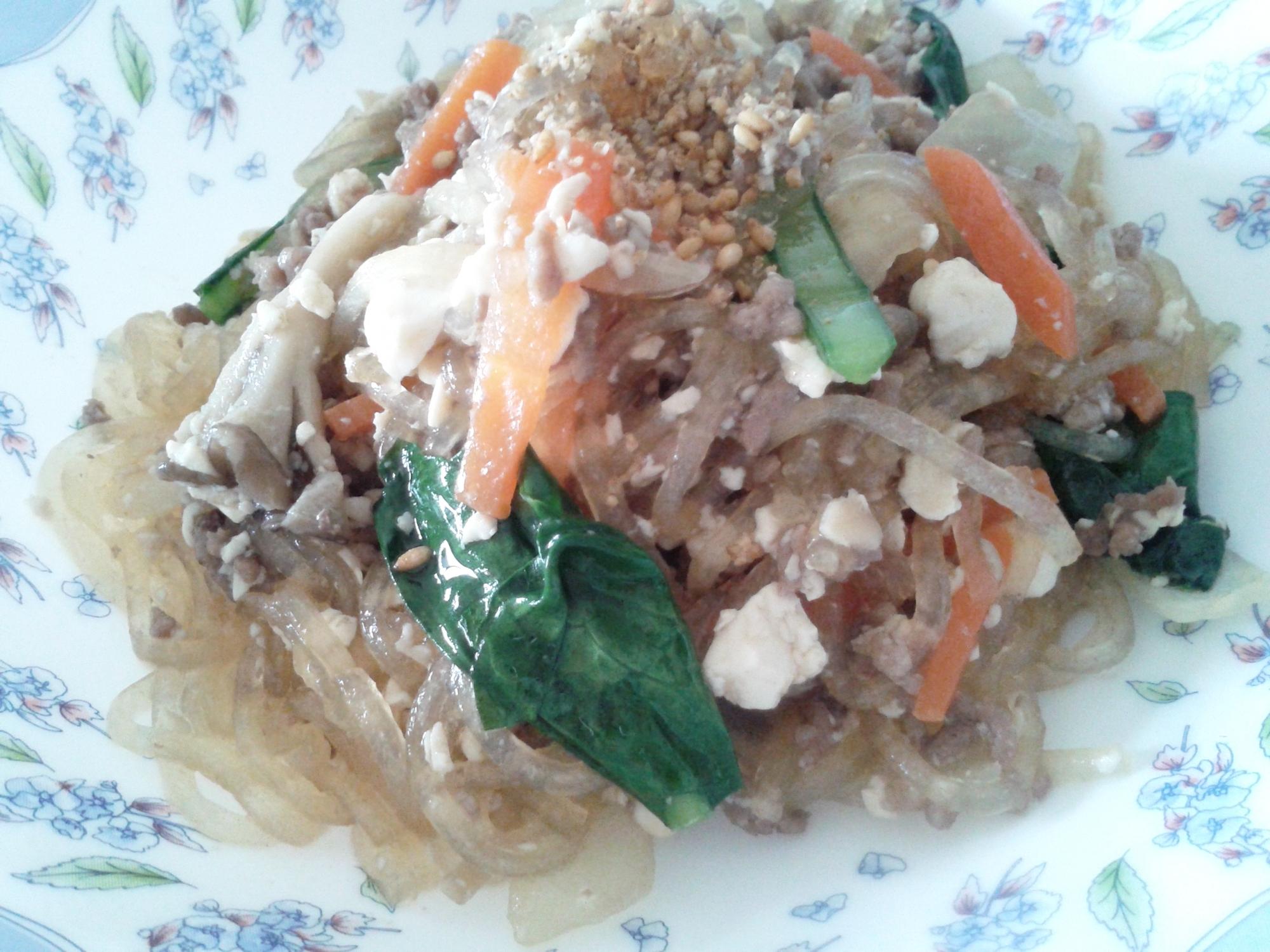【栄養&ヘルシー】野菜たっぷりの豆腐春雨炒め♪
