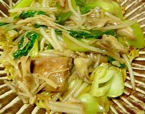 ひき肉団子と青梗菜のあんかけ焼きそば