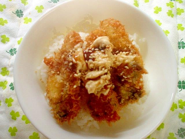 酢飯で牡蠣フライどんぶり~☆
