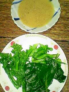 収穫した小松菜&菜の花でサラダ