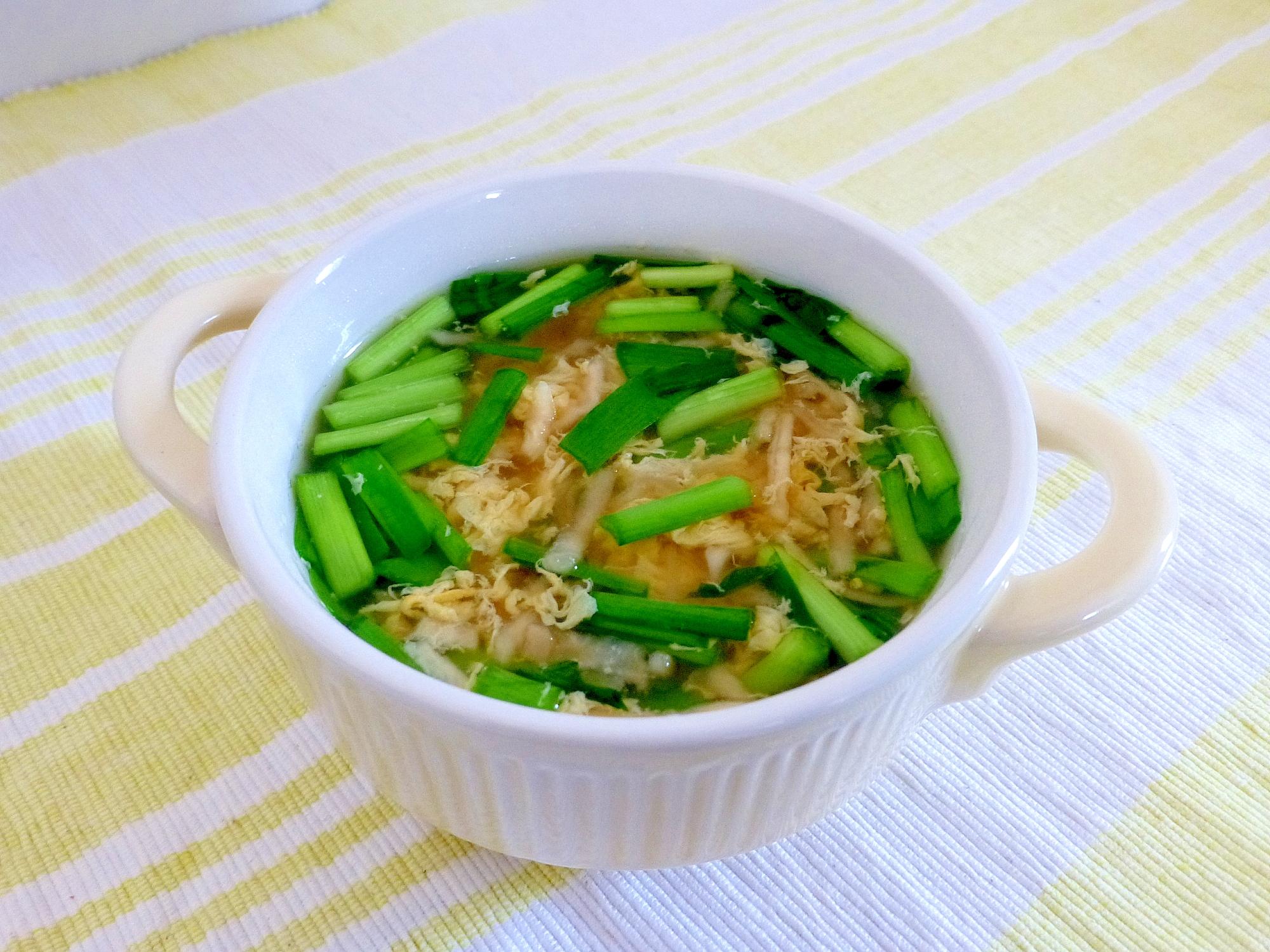 切干大根入りニラ玉スープ