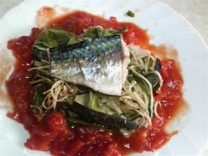 御手軽「塩鯖と野菜蒸」