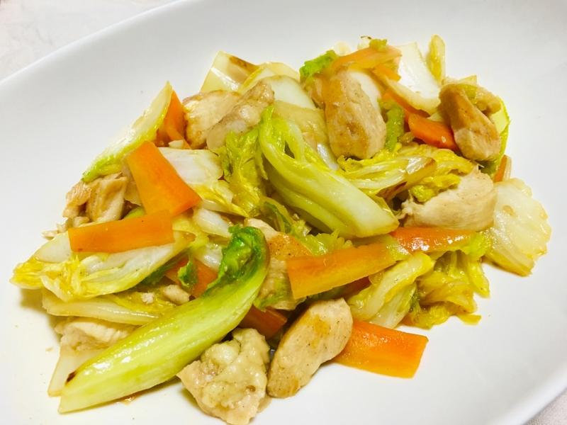 9. 白菜と人参と鶏肉の簡単中華炒め
