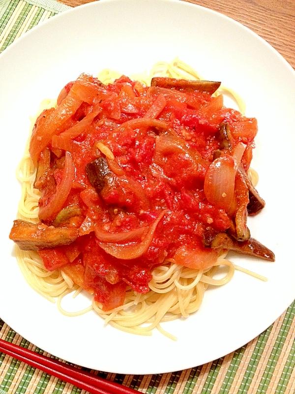 簡単!茄子とトマトのパスタ