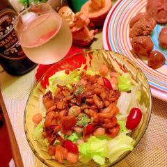 茸のバターぽん酢ドレッシング豆サラダ