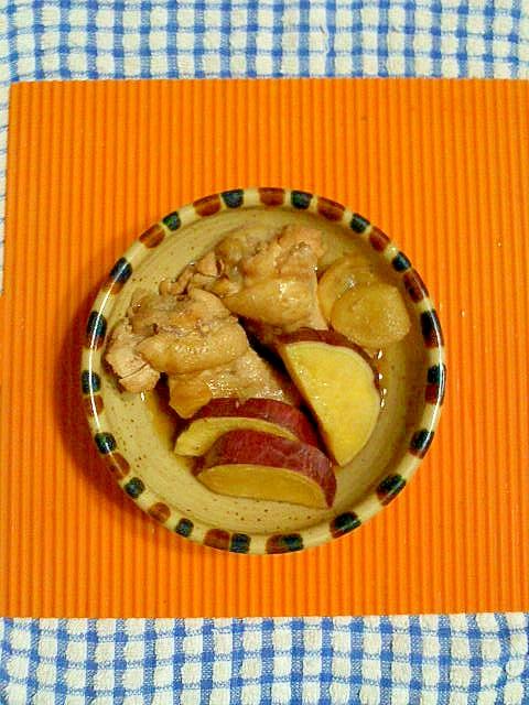圧力鍋で、手羽元とサツマイモの煮物♪