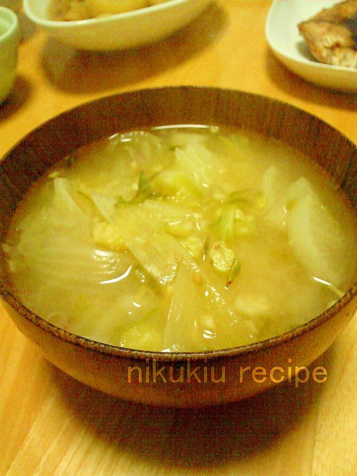 みょうが・大根・白菜・たまねぎの味噌汁