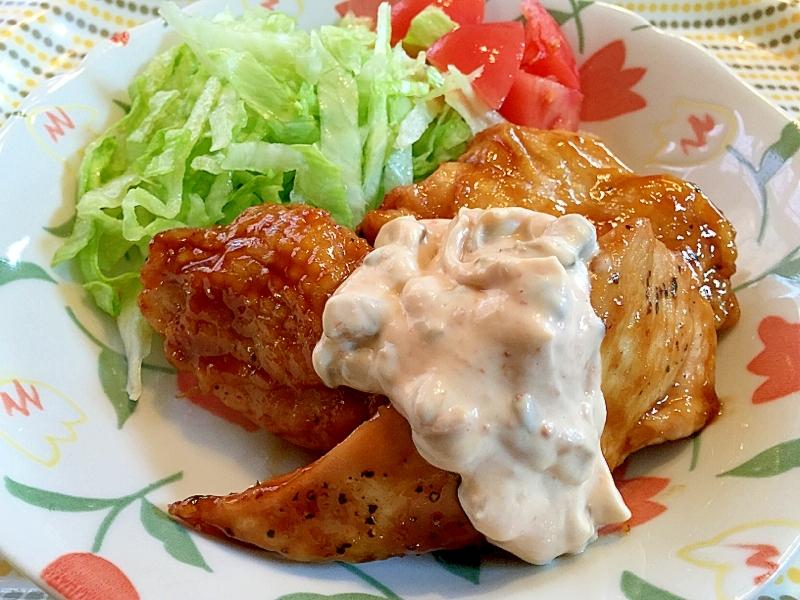 鶏南蛮風、キューちゃんと梅マヨ