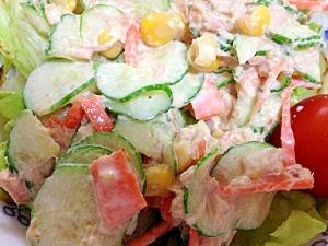 胡瓜と人参のツナコーンサラダ