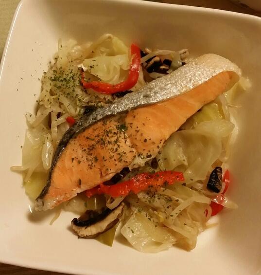 圧力鍋で☆鮭の野菜蒸し