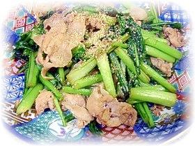 カブの葉と豚肉炒め