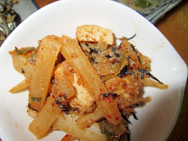 大根ひじきと厚揚げ鰯酢とキムチ炒め煮