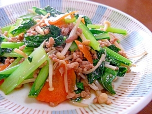 野菜と豚ひき肉の炒めもの