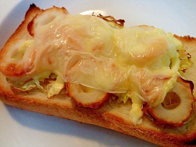 白菜と竹輪の生姜香るトースト