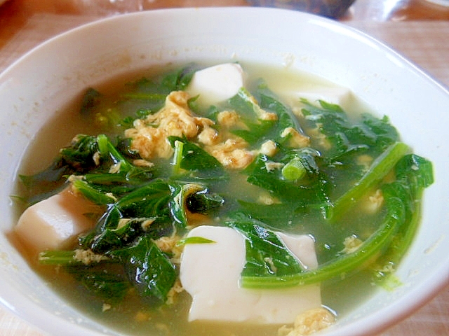 ほうれん草+豆腐+卵のコンソメスープ