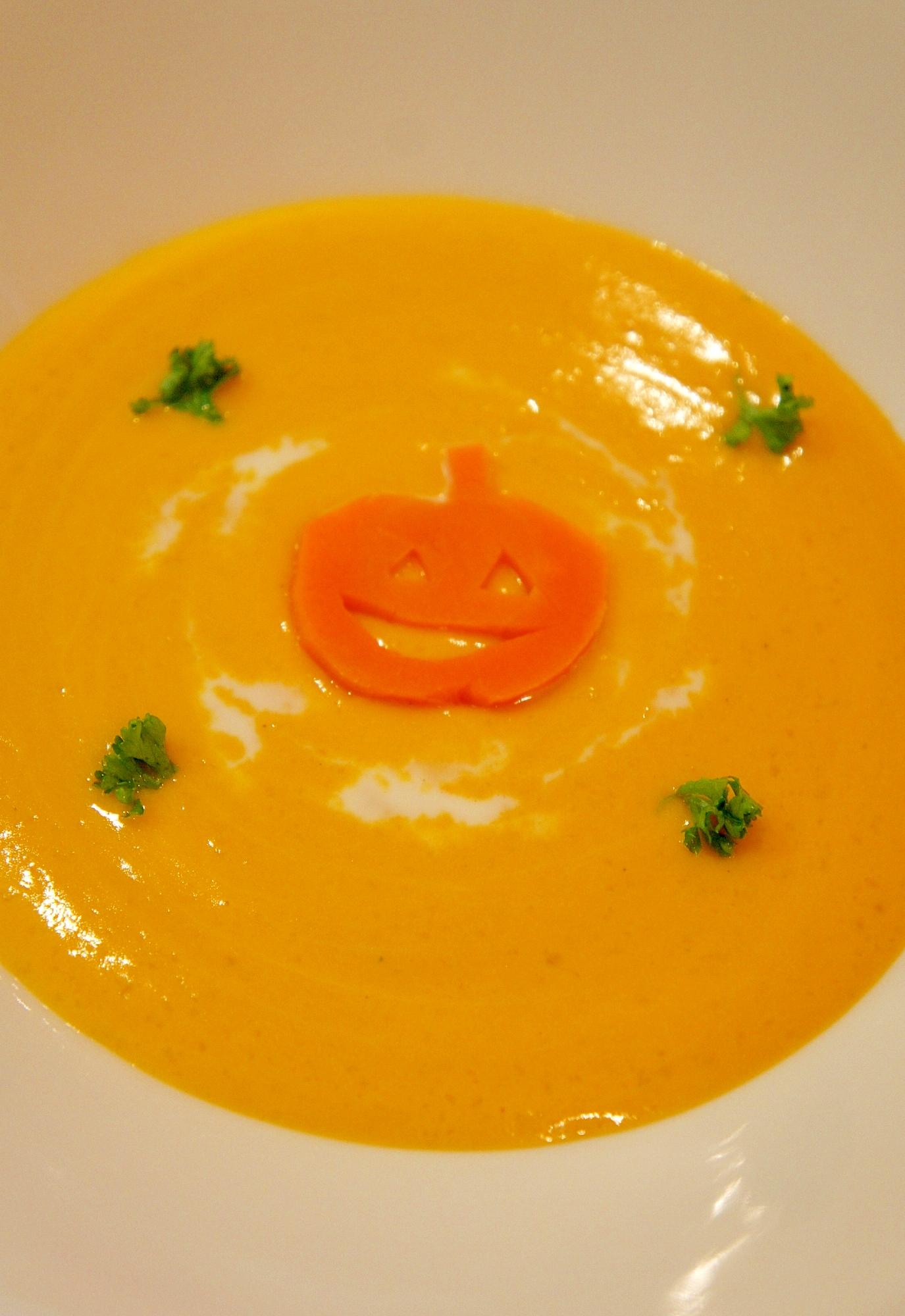 濃厚かぼちゃの豆乳ポタージュ~ハロウィンバージョン