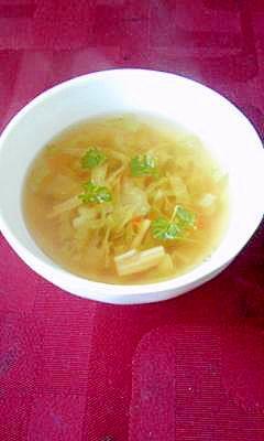 残り物の野菜で朝食コンソメスープ