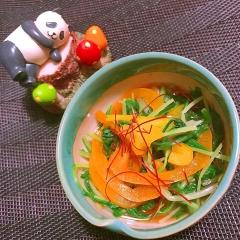シャキシャキ水菜とパプリカの韓国風お浸し