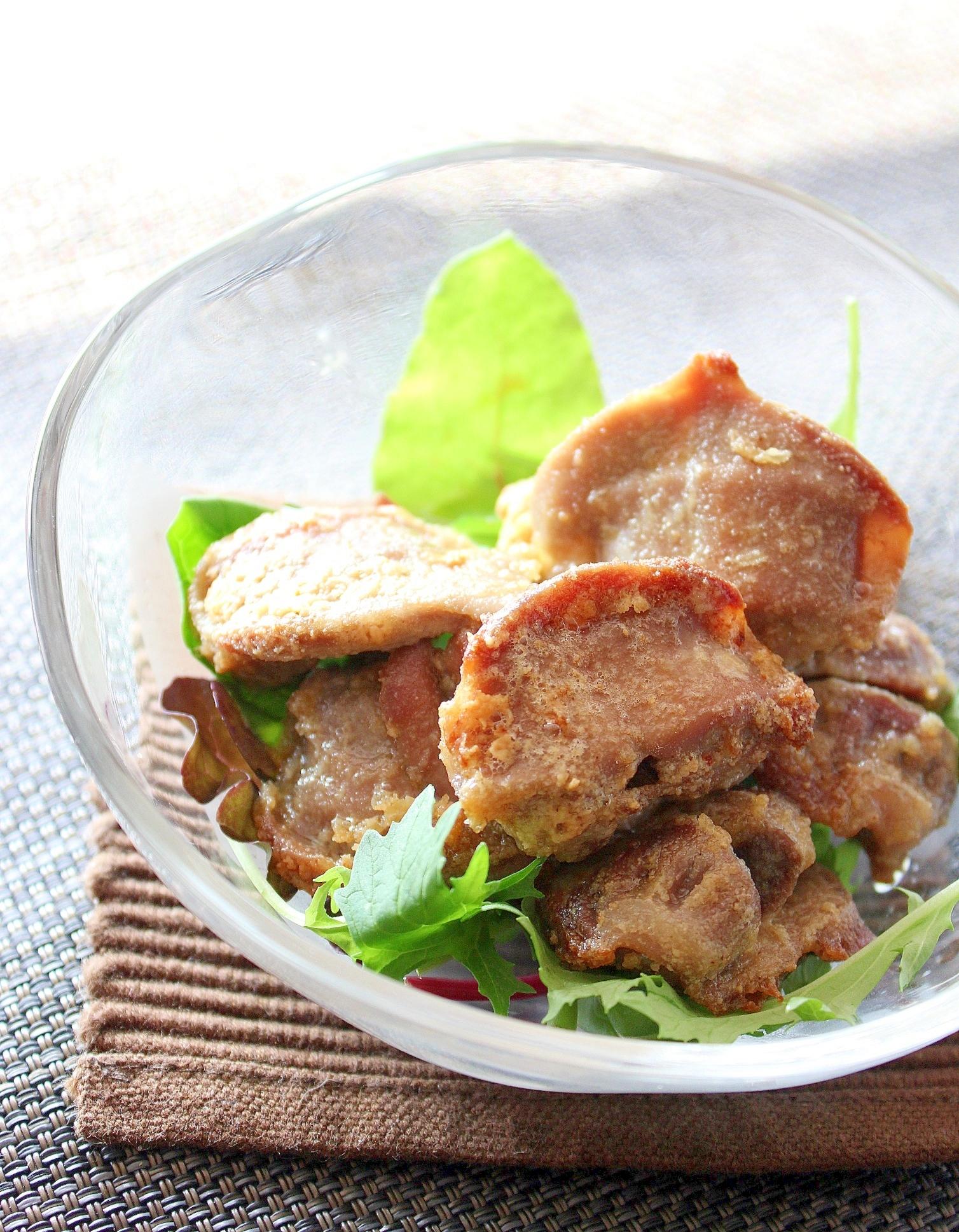 砂肝アヒージョのピーナッツ粉唐揚げ(ノンフライヤー