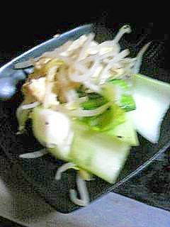 酒の肴:豆腐とちんげんさいの炒めもの