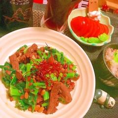 ラム肉とかき菜の雑穀オイスター炒め
