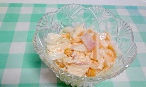 白菜とハム、りんごのコールスロー風サラダ♪