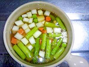 レンジだけ!半端野菜で具沢山☆コンソメスープ