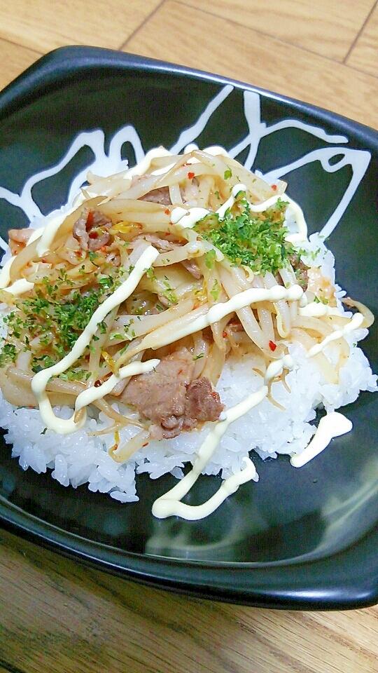 夜食に☆豚モヤシキムチ丼