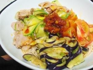 ピリ辛夏野菜冷しゃぶ素麺