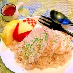 鶏胸肉でお手軽♪蕎麦の実入り海南鶏飯