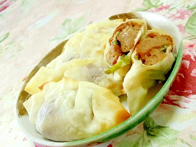 ツーンミートボールと葱チーズの餃子の包み焼き