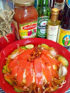 スモークサーモンとモヤシと胡瓜の冷製中華素麺☆