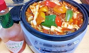 トマト鍋の素を使って野菜たっぷり煮込みハンバーグ鍋