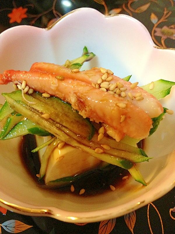 豆腐の小鉢~蟹と胡瓜のバルサミコ醤油