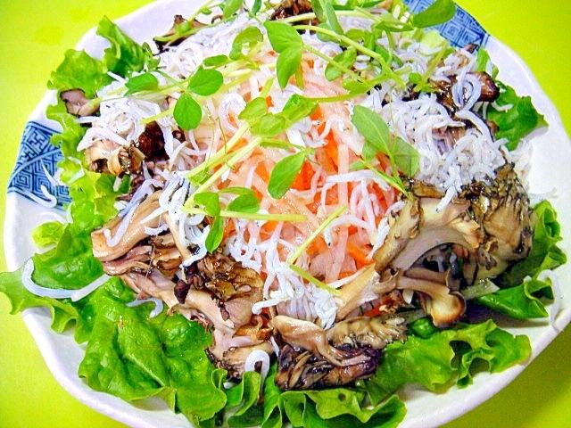 焼き舞茸としらすの大根サラダ