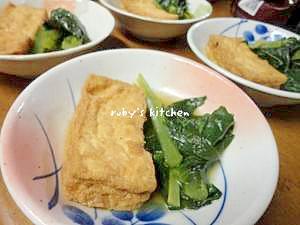 めんつゆで簡単に☆絹揚げと小松菜の煮浸し