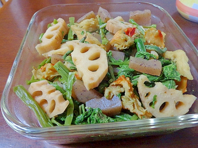 蟹のふんどしと蓮根と山菜の煮物